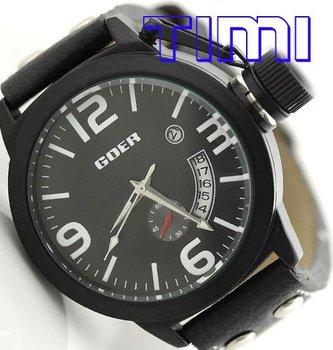 Mens Automatic Watch Army Design Calendar Black Leather