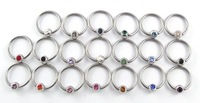 14g mixed 20 color captive beaded ring BCR body jewelry, 100pcs/lot