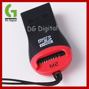 Free Shipping, USB 2.0 M2/TF CARD READER FOR 512MB to 8GB,MICRO SD TF CARD,