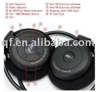 5pcs wholesale and retail Sports MP3 Music Player Handsfree Headset Headphone FM