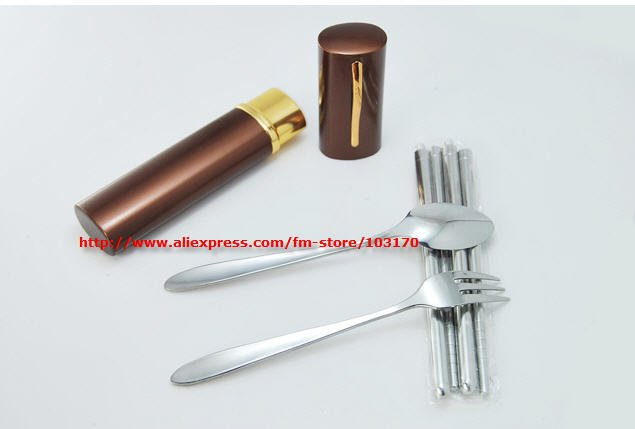 Free shipping New Mini Stainless Steel Tableware Chopsticks+Spoon+Fork set pen travel fork set(China (Mainland))
