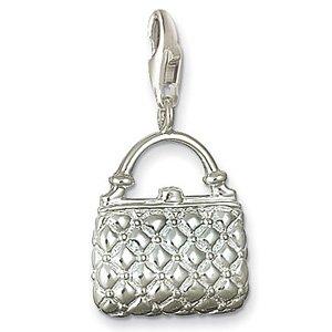 Free shipping! elegant 925 silver necklace bracelet charm pendant Plaid Handbag charme 30/lot(China (Mainland))