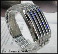 Free shipping+20PCS  Iron Samurai 44 LED Light Digital Stainless sport watch ,led watch !