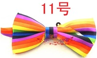 fashion man and woman's Rainbow stripe bow tie