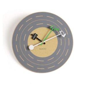 fashion C raceway fable round wooden wall clock\ art wall clock\hang clock