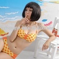 Free shipping!  Cute dot pattern design! Sexy fashion Bikini,young women's Swimwears (yellow,orange,green)