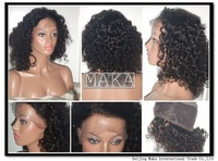 2013 New Style Wig 100% Indian remy human hair full lace wig 12inch 1# jet black curly