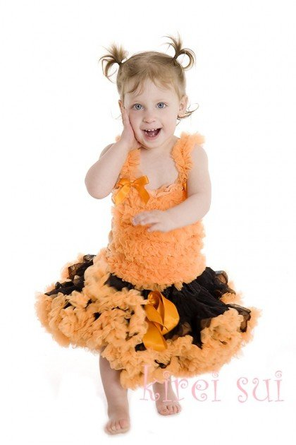 NORMAL FLUFFY tutu pettiskirts Girls skirts pettiskirt tutus girl's Skirt black+orange dress 20 pcs(China (Mainland))