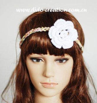 Free shipping H08A004A Handmade Crochet Fashion Elastic Hair Band Cotton Headband