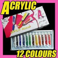 Fast & Free Shipping  12 colors 60 pcs nail art acrylic paint DIY tips set S055
