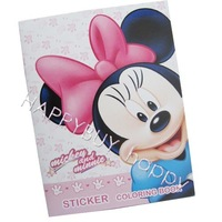 "Free Shipping 10pcs Minnie Mouse Cartoon 5.5""x4"" Kids Coloring Book with Stickers Drawing book Children Gift Hotsale"