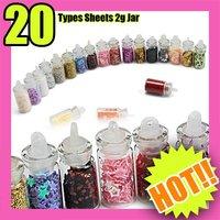Fast & Free Shipping 20 color 100 pcs nail art glitter sheets acrylic tips DIY S089