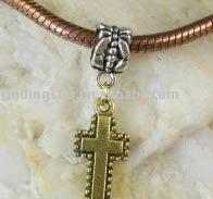 FREE SHIPPING 60PCS Tibetan Silver W/Gold Cross Dangle Fit Charm Bracelet M8122