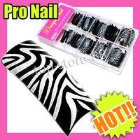 Fast & Free Shipping New Fashion Cute 5 sets x 70 pcsZabra Stripe French False Acrylic Nail Art Tip S193