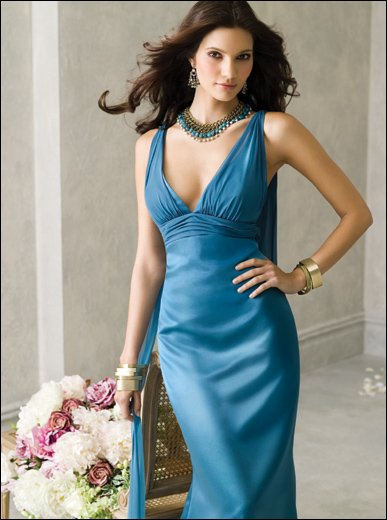 Best selling A-line V-neck Liac Chiffon Floor Length junior bridesmaid dresses(China (Mainland))