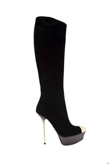 Best service Fashion knee high boots suede leather Black GZ015(China (Mainland))