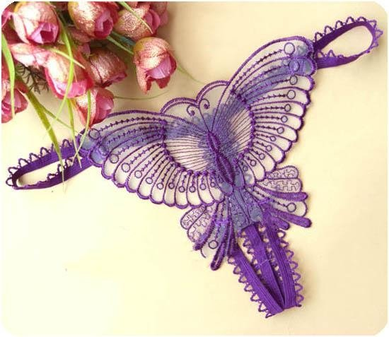 12pcs/lot New hot Sexy purple Butterfly embroidery lace women sexy G-string free shipping 8003(China (Mainland))