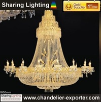 [Sharing Lighting]Large Gold Plated crystal chandelier light,pendant lamp