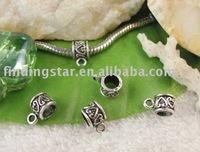 FREE SHIPPING 300pcs tibetan silver heart european bead bail fit charm bracelet A11670