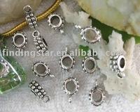 FREE SHIPPING 225pcs Antiqued silver circle european bead bail fit bracelet A10191