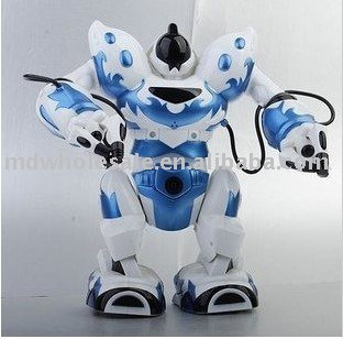 Wholesale RC robot RC intelligent Robot multi function RC toy,most popular toys Bule color 4pcs/lot fast delivery(China (Mainland))