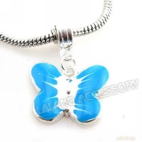 Free Shipping 30pcs/lot Znic Alloy Blue Enamel Silver Plated Butterfly Pendants Fit Charms Bracelet or Necklace 30mm 8011