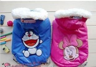 Frete grátis 2011 novo inverno chegada terno de esqui roupas pet bonito personagens de desenhos animados 3 modelo gatinho / Minnie / Doraemon XS- L 100 / lot(China (Mainland))