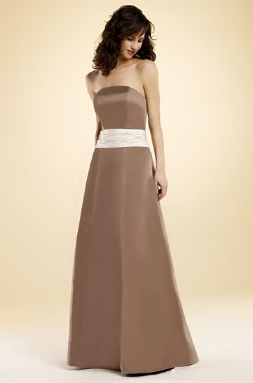 Strapless A line Simple Design Bridesmaid Dresses ceremony party Formal Gowns(China (Mainland))