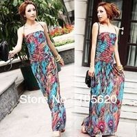 Fashion Summer Women's/Ladies Bohemia Sling Floor-length Printing flower Dress Sexy  Style Long Beach dress
