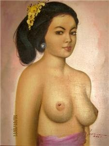 Vintage Original Framed Bali Girl Oil Painting Signed 100% Free shipping(China (Mainland))