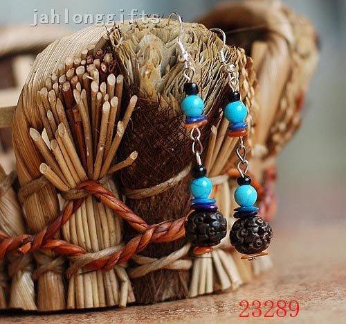 Wholesale Handmade Tibetan Carved Ox Bone Bead & Blue Turquoise Earring Pendant Charming Jewellery 50pairs Mixed Lot Free Ship(China (Mainland))