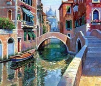 Landscape oil painting ,Venice Landscape, Hot,Contemporary Art (Hand painted canvas art )Venice-007