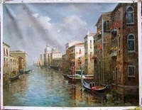 Landscape oil painting ,Venice Landscape, Hot,Contemporary Art (Hand painted canvas art )Venice-041