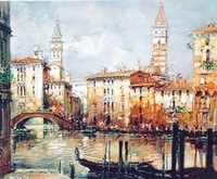 Landscape oil painting ,Venice Landscape, Hot,Contemporary Art (Hand painted canvas art )Venice-046