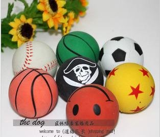 2011 new arrival free shipping 100/lot Elastic ball pet toys dog toys pet products, dog playing ball colorful(China (Mainland))