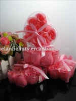 Wholesale (9 rose /1box. 450 Rose/lot) pink  Free shipping  Flower Rose Soap,hand made flower soap