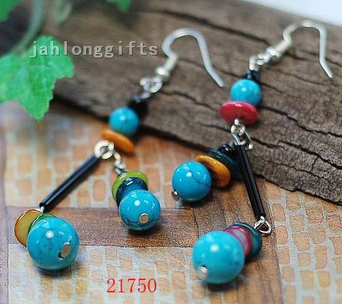 Ladies Fashion Jewelry Blue Turquoise+Shell Ear Ring Dangler Pendant 50pairs Mixed Lot Free Shipping(China (Mainland))