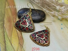 BEST SELLING Antique Brass Triangle Dangle Earrings w/ Inlaid Turquoise Beads Brass Jewelry 24pairs Mixed Lot Free Shipping(China (Mainland))
