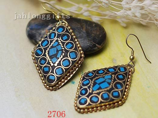 BEST SELLING Antique Turquoise Inlaid Brass Square Dangle Earring Brass Ear Ring 24pairs Mixed Lot Free Shipping(China (Mainland))