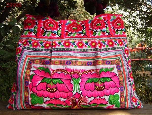 Best Selling! High Grade 54x40cm Fully Embroidered Jumbo Tote Bag Shoulder Bag Pink Handbag 2pcs Mixed Lot Free Shipping(China (Mainland))