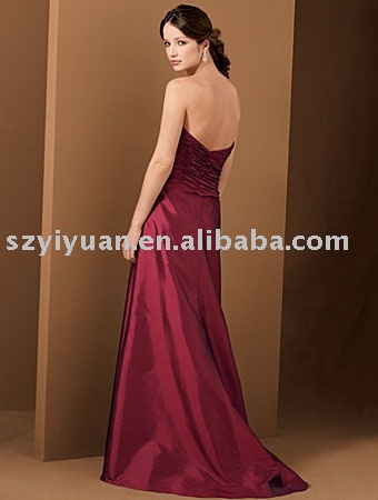 2011 new style silk taffeta red long evening dress YY-518A