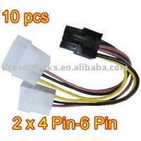 20pcs/lot 4 Pin to 6 Pin PCI-E Power Adapter Cable for high end graphics cards (any brand)
