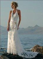 2011 A-Line New Sexy Halter Floor Length Beach Wedding Dresses Fashion custom-made elegant Bridal Gown dress Free Shipping