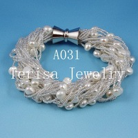 New Free Shipping A031, Grade AAA.Natural Fresh Water Pearls Size:8mm.24 String.Color:White color.Vogue Bracelet.1pcs/lot