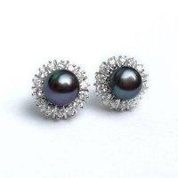 8MM Black Akoya Cultured Pearl Earring silver stud AAA+      Free Shipping