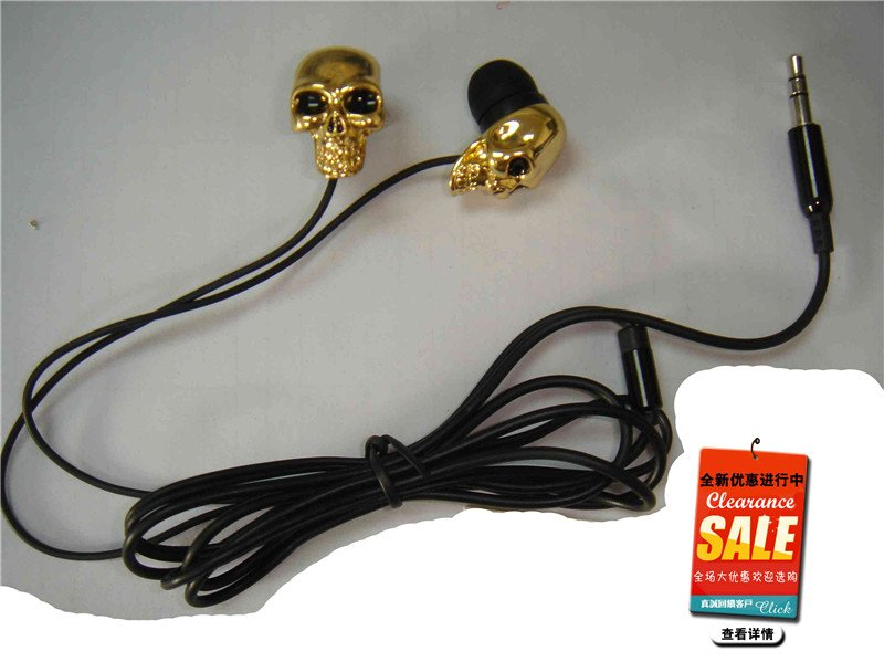 Hot selling gifts! new style earphone skull head earphone high quality 10pcs/lot free shipping by DHL(China (Mainland))