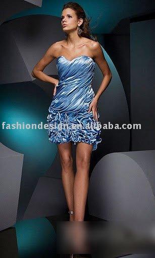 HLJ0068 luz corpete azul elegante com drapeado strapless tafetá na altura do joelho vestido de cocktail assimétrico(China (Mainland))