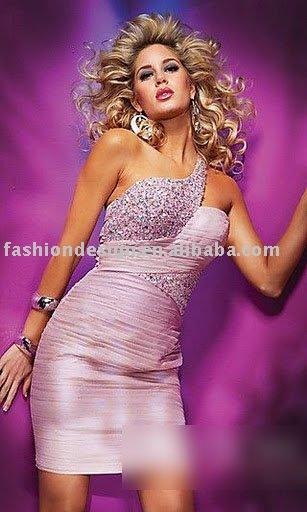 elegante hlj0064 swarovski rosa cristal um ombro tafetá apressado espartilho joelho- vestido de cocktail comprimento(China (Mainland))