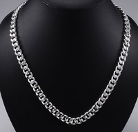 Hot!Classic  wholesale FINE jewelry 925 sterling silver men's necklace 20inch 10mm