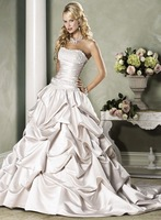 Popular A-line Satin sleeveless Free Shipping Wedding Dress&Wedding Gown